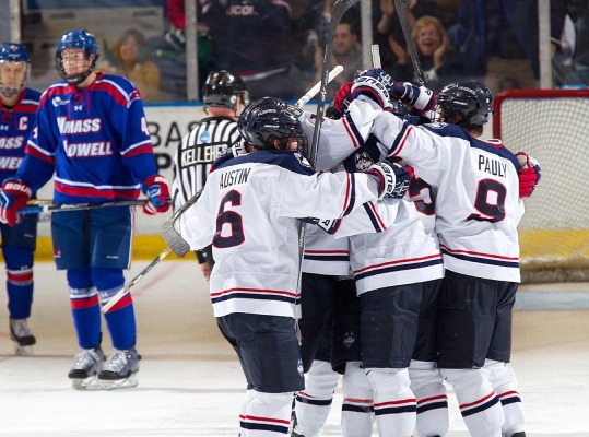 UConn Celebrates Jacob Poe's Gamewinner Vs. UMass Lowell!