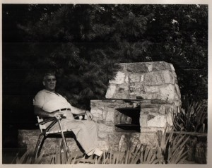 Edward Saba relaxing by fire