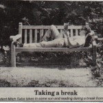 Mitch-on-park-bench-WIllimanticChronicle-9-10-1994-picture taken-9-6-1994 (Enjoying the Break)