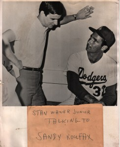 Stan Wawer Jr, talking with Sandy Koufax